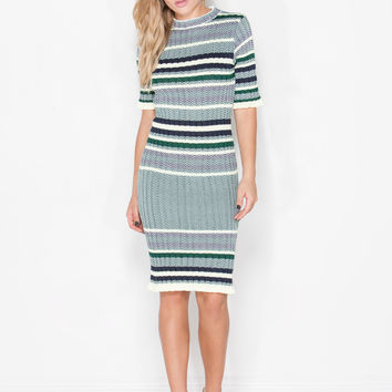 Racing Stripes Ribbed Sweater Dress