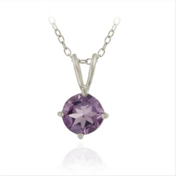 Silver 1.2ct Amethyst 7mm Round Solitaire Pendant, 18""