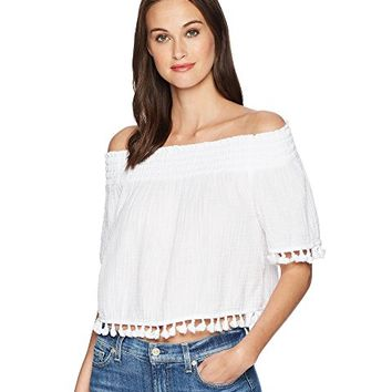 Michael Stars Double Gauze Short Sleeve Smocked Cropped Top with Tassels