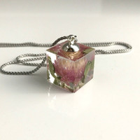 Real Pink Clover Flower Necklace, resin cube pendant dried pressed flowers nature natural gift gifts for her
