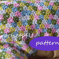 pdf pattern for crocheted baby flower afghan / no sewing, crochet the flowers together as you go / in English