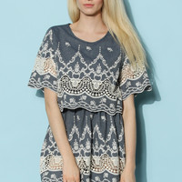 Baroque Moment Tiered Denim Dress Multi S/M