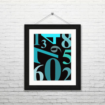 Numbers, 8x10 digital download, typography print, home decor, modern, instant print, printable wall art, typography, blue mint teal numbers