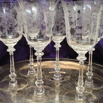 Six Heisey ORCHID Water Goblets, Elegant Etched Crystal, 1940-1957,  Beautiful Vintage Chic Antique Style Etched Pattern, Formal Stemware