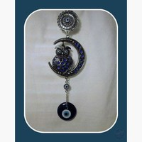 Wise Owl & Moon Evil Eye Hanging