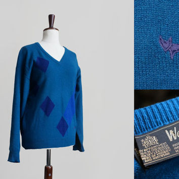 Vintage Wolsey mens sweater, teal blue geometric sweater made of lambswool