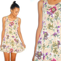 Vtg Floral Printed Mini Cotton Tank Khaki Dress