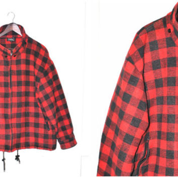 red BUFFALO check plaid LUMBERJACK jacket vintage 80s relaxed fit FALL winter zip up flannel coat