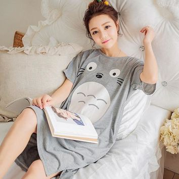 LMFET7 2017 Summer 100% Cotton Women Printed Nightgown Female Casual Outwear Lady Pockets Sleepshirt Girl Pijama Home Clothing Size 3XL
