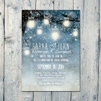 Digital - Printable Files -  Winter and the Fallen Leaves Wedding Invitation and RSVP Card - Wedding Stationery - ID357