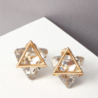 Triangle Cutout Rhinestone Earrings