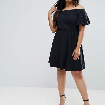 ASOS CURVE Off Shoulder Skater Dress at asos.com
