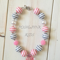 Girls chunky, pink, gray and white bubblegum necklace, toddler, bead necklace baby, crystal, bubble gum, white, kids necklace, striped