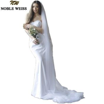 NOBLE WEISS Mermaid Wedding Dresses Long 2018 High Quality Satin Arabic Custom Made Bridal Gowns Free Veil Vestido de noiva