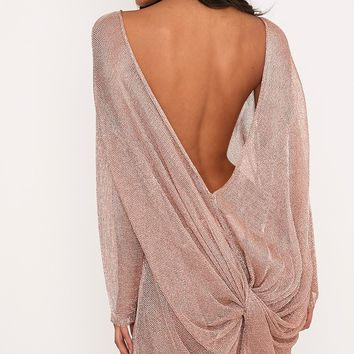 Judanna Rose Gold Scoop Back Sheer Knitted Mini Dress