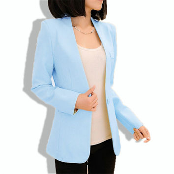Floral Long Sleeve One Button Formal Blazer Women Blazers And Jackets Business Office Suits Bleiser Feminino Candy Color Coat