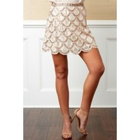 Date With Destiny Rose Gold Beaded Skirt