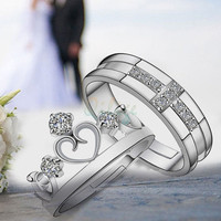 Retro chic New 925 silver plated Prince &amp Princess Imperial Crown Adjustable Couple Rings