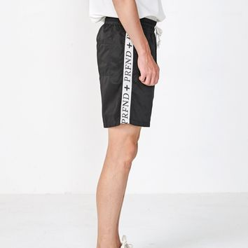 Satin Track Cross Stripe Shorts in Black