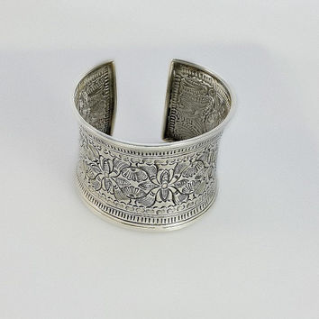 Wide Cuff Silver Bracelet - Engraved Sterling Cuff Bracelet - Wide Floral Themed Silver Cuff Bracelet