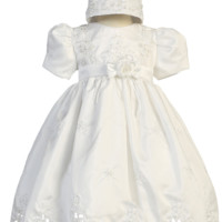 Cut Work Shantung, Embroidery & Pearls Christening Dress (Baby Girls 3 - 24 months)