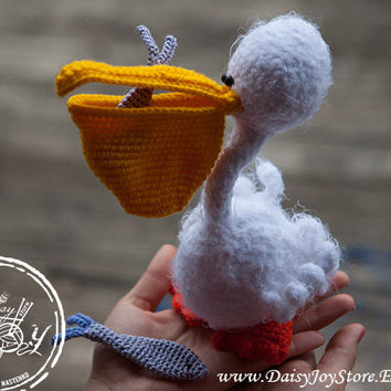 Amigurumi Crochet pelican toy -  READY TO SHIP - crochet fisherman set