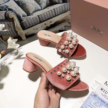 MIUMIU 2018 counter new pearl small eyes slippers sandals F-OMDP-GD
