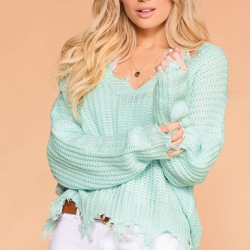 Moving On Mint Knit Distressed Sweater