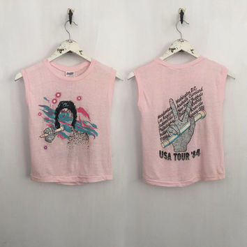 Michael Jackson shirt 1984 vintage band t-shirts Victory tour 80s band muscle tee sleeveless tshirt bedazzled metallic glove pale pink xs