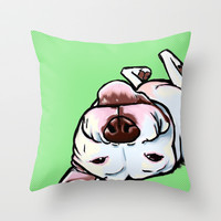 Pit bull dog nap time Throw Pillow by Cartoon Your Memories
