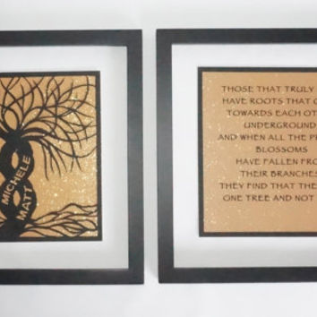 1st ANNIVERSARY Gift 2 Trees Of Life As One Black Silhouette Paper Cut ORIGINAL Design CUSTOM ORDeR Framed Signed Symbolic Art Handcut  OoAK