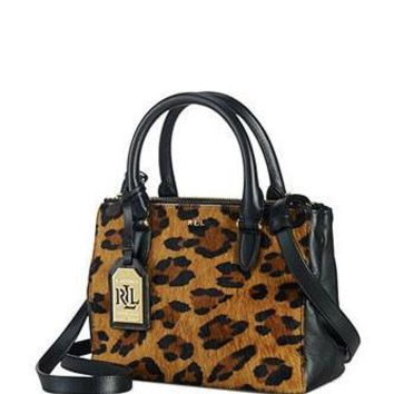 Lauren Ralph Lauren Newbury Leopard Haircalf Mini Double Zip Satchel