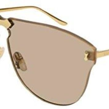 Gucci GG0354S 002 Gold Metal Aviator Sunglasses Light Brown Lens