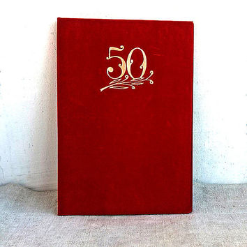 50th anniversary greeting cover Soviet vintage congratulations cards Thank You text Red velvet folder Retro papers keep Portfolio Gift idea