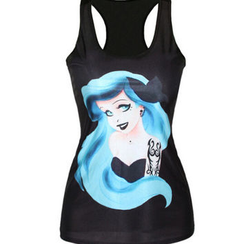 Black t-shirt women new 2015 The Little Mermaid vest Ariel Cartoon print camisole Sexy fashion punk tops