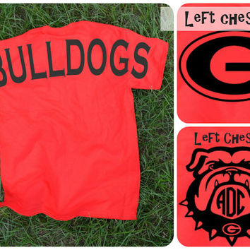 Georgia Bulldogs Spirit Jersey Tee Shirt ~ Monogram or not ~ Red UGA