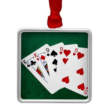 Poker Hands - Two Pair - King, Nine Metal Ornament