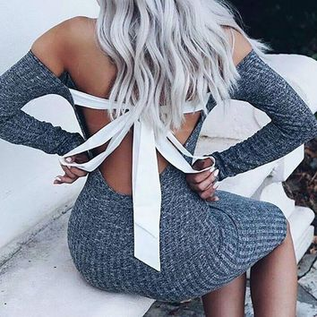 Long Sleeve Sexy Club Women Backless Bow-Tie Dress Slim Bodycon Knitted Sweater Knee-Length Party Night Dresses WS3778C