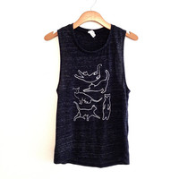 Cat shirt, tank top, sleeveless blouse, white cat muscle tee shirt, grey flecked cat tank top, yoga tank top, work out, gift for cat lover