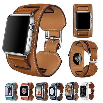 3 in 1 Cuff Leather Wristwatch Bands Wrist Strap For Apple watch 38 42mm