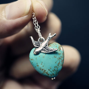 Natural Turquoise Heart Necklace - Tiny Silver Swallow Bird Necklace Chunky Turquoise Pendant - Sterling Silver GenuineTurquoise Necklace