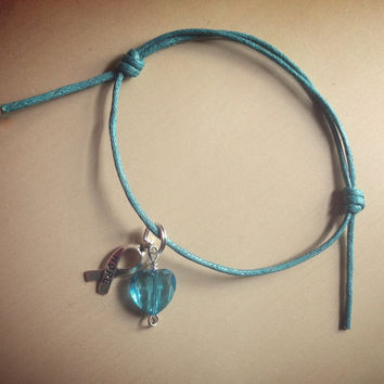 Teal Green Awareness Sliding Knot Bracelet-Cotton-Ovarian Cancers-Anxiety Disorder-Sexual Abuse-Stress Disorder