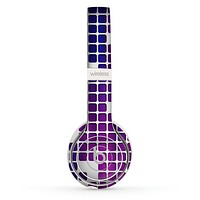 The Dark Purple Squares Pattern Skin Set for the Beats by Dre Solo 2 Wireless Headphones