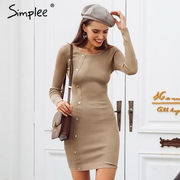 Simplee Rivet black knitted sweater dress Casual o neck pullover bodycon sexy dress female Autumn winter dress 2019 streetwear