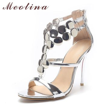 Meotina Ladies Shoes 2018 Summer Gladiator Sandals Women High Heels Sandals Party Wedding Shoes Glitter Gold Ladies Sandals 43