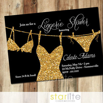 Lingerie Shower Invitation Black Gold Bling - Gold Glitter - 5x7 - Unique vintage style Invitation - You Print