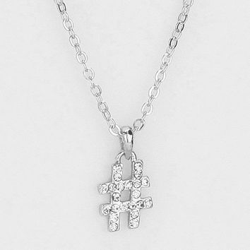 Crystal Pave Hashtag Pendant Necklace