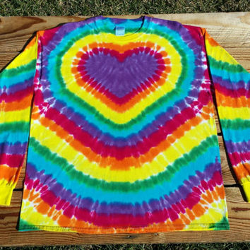 Women's Purple Heart Tie Dye Shirt,  S M L XL XXL,  Rainbow Heart Long Sleeve Top