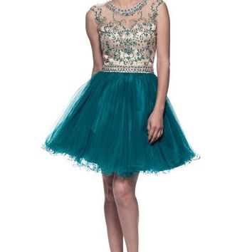 Prom Short Emerald Dress