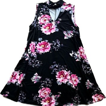 Tween Floral Key Hole Dress, Black